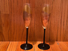 2 Rare Randy Strong Gold Leaf Black Stem champagne flutes glasses R