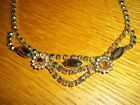 Antique Necklace Multi Colored Stones Aurora Borealis Carnival Glass hook
