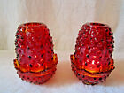 VINTAGE FENTON AMBERINA RED URANIUM HOBNAIL GLASS FAIRY LIGHT PAIR CANDLE HOLDER