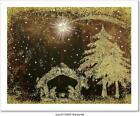Nativity Scene Christmas Card Art Canvas Print Poster Wall Art Home Decor