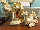 Vintage Set of 2 HOLLAND Mold Ceramic CAMELS Rare White W Gold Glaze Nativity