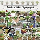 50 DIFFERENT BABY YODA SMALL VINYL STICKERS