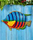 TROPICAL METAL VIBRANTLY COLORFUL FISH WALL SCULPTURE INDOOR OUTDOOR HOME DECOR