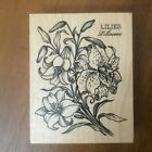 PSX Rubber Stamp Lilies Lilioideae Botanical Flower Plant Wood Mounted K 1276