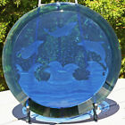 DOLPHIN ART One of a kind DOLPHINS Etched in Cobalt Blue Glass Signed