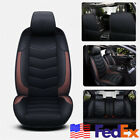 USA Ship 5 Seats Full Set Car Cushion Front+Rear Seat Cover Slip on PU Leather