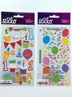 Baby Boy First Birthday Scrapbook Stickers Lot One Year Balloons Cake Cards