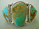 PJ NAVAJO Native American Indian Royston Turquoise Sterling Silver Cuff Bracelet