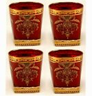 Votive Candle Holder Glass Gold Print on Red Square Base 3D 35High Set 6