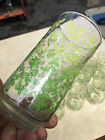 LIBBEY 10 TUMBLERS DRINKING GLASSES Two Tone GREEN / Yellow   Leaves / Vines.