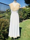 Vintage 1930s Sheer White Rayon Lace Dress Nightgown Wedding Extra Small