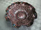 FENTON CHERRY CHAIN CARNIVAL GLASS LARGE RUFFLED BOWL  OUTSTANDING COLOR