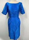Vintage 1950s Blue Shiny Dress Fitted Zip Up Short Sleeves Boat Neck Womens