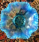 Vintage Art Glass Bowl GRAPE AND LEAF Opalescent RUFFLED Edge 8