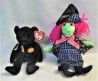 TY Beanies 2000 Haunt Black Bear and Scary Witch Pink Hair Halloween
