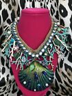 Betsey Johnson HUGE Glitter Reef Ocean Sea SPARKLY Coral Scallop Shell Necklace