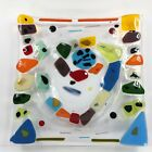 Modern Fused Art Glass Plate Clear Platter Color Shapes Multicolor 8x8
