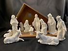 GOEBEL SACRART 12 PIECE WHITE NATIVITY FIGURINES W CRECHE HX281