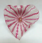 Murano Italy Latticino Pink  White Ribbon Glass Heart Shape Bowl Mint