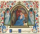 MID CENTURY CHRISTMAS ANGELS HARP CHRIST CHILD NATIVITY SCROLL ART GREETING CARD