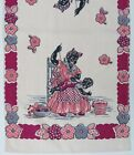 Vintage Mint Condition Mammy Dish Towel with Child and Colorful Flowers