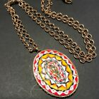 Vintage Murano italy Micro Mosaic Glass Oval Pendant Necklace Multi Color 1219