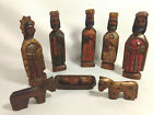 Vintage Hand Carved Painted Wood Rustic Nativity Set 9 Pcs