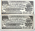 2 Vintage 1961 Levis 501XX Original Guarantee Tickets For Over 85 Years VGC