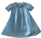 New Babeeni Nativity Blue Smocked Christmas Bishop Dress Sz 18 M up to 2t