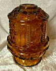 VINTAGE AMBER GLASS VOTIVE CANDLE HOLDER 2 Pieces     LC