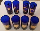 Vintage Cobalt Blue Culver Glass Moon Stars Celestial Tumblers Tall Glasses EUC
