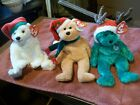 3-TY Beanie Babies (03 Holiday Teddy-Snowdrift-02 Holiday Teddy) with Hang Tags