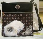 Hand painted Pekingese on over the shoulder and body bag