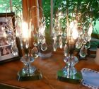 Vintage antique Pair of Art Deco Brass  Crystal Drop Fountain Waterfall Lamps