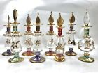 Vintage Egyptian Gold Glass Perfume Bottles Made in Egypt Hand Blown Eight Piece