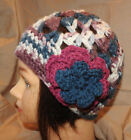 Beanie style hand crochet Woman  or teen  hat  BURGUNDY BLUE WHITE  NEW