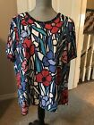 Alfred Dunner Womens Plus Tee Shirt Top 2X Navy Red Pink Floral Short Sleeve