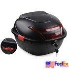 Black Motorcycle Moped Top Box Luggage Tail Storage Case Clip On w Lock Key Kit
