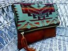 Fold Over Leather Clutch Bag Purse Pendleton Fabric