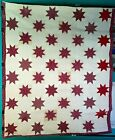 Antique 1880s Claret and White Star Quilt