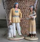 HOMCO Native Figurines 1404  1447 Man  Dog Woman  Baby 85 Tall Decor