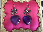 Betsey Johnson Vintage Blue Hearts Glass Crystal AB Pewter Bow Heart Earrings