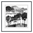 Watercolor Painting Black Trees Clouds Framed Glass Wall Art Home Decor