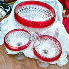 3 pcs Vintage Indiana Glass Ruby Flash Diamond Point Footed Dessert Bowls 7