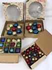 VTG Shinybrite Tiny Feather Tree Glass Ornaments 68 Assorted With Boxes Japan