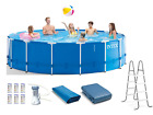 Intex 15ft x 48in Metal Frame Above Ground Pool Set with Pump Cover