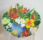 VTG PEGGY KARR GLASS STUDIO ART EXOTIC FLOWERS BIRD PARADISE LILIES FUSED PLATE