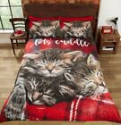 Cuddle Kittens Duvet Cover Set photographic sleeping cats tartan red King Size