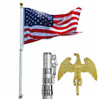 25FT Aluminum Telescopic Flag Pole with 3x5 US Flag + Ball + Top Flagpole Set