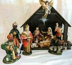 1960 VINTAGE MUSICAL NATIVITY SET SILENT NIGHT Hand Painted Paper Mache Japan